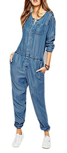 629722729cd2 Allbebe SingleBreasted NinePoints Sleeve Overalls Piece Pants XL Denim blue  -- You can find out more details at the link of the image.