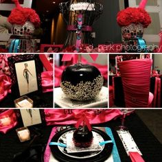 black and pink glam wedding, gorgeous!