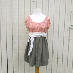 small  large  Romantic Day Dress / Upcycled Clothing by CreoleSha