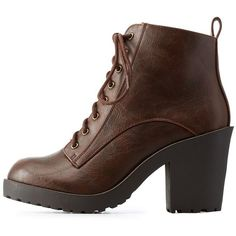 Charlotte Russe Brown Chunky Heel Lug Sole Combat Booties by Charlotte... (160 SAR) ❤ liked on Polyvore featuring shoes, boots, ankle booties, brown, chunky heel boots, ankle boots, brown booties, military boots and thick heel booties