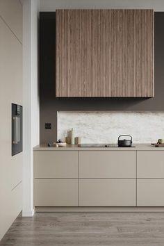 Kitchen Room Design, Kitchen Dinning, Modern Kitchen Design, Interior Design Kitchen, Minimalist Kitchen Renovation, Minimalistic Kitchen, Taupe Kitchen, Interior Desing, Scandinavian Kitchen