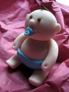 Baby Edible fondant cake topper by cakeascanvas on Etsy