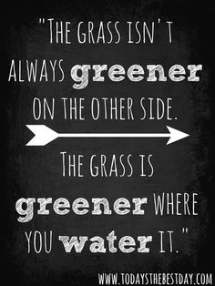 the grass isn't always greener on the other side. the grass is greener where you water it.