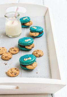 Cookie Monster Macarons by raspberri cupcakes, via Flickr