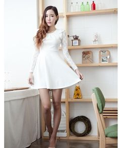 White Cute Korean Style Mini Dress With Sleeve Lace Feature Plus Size Maxi Dresses, White Maxi Dresses, Trendy Dresses, White Dress, Mini Dresses, Mini Dress With Sleeves, Black Long Sleeve Dress, Skirt Fashion, Fashion Outfits