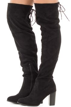 61b0a10cf2a Black Faux Suede Knee High Boots with Tie Back Detail side view Shoe  Boutique