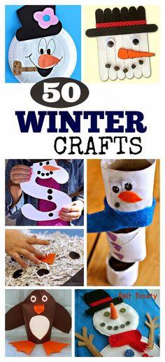50 Winter Crafts Kids Love- these are SO CUTE!  #wintercraftsforkids #winteractivitiesforkids