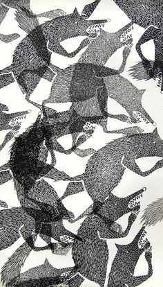 Illustrated wolf pattern // Lieke van der Vorst, Liekeland