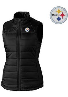98b6b5a91 Cutter and Buck Pitt Steelers Womens Black Post Alley Vest Pitt Steelers