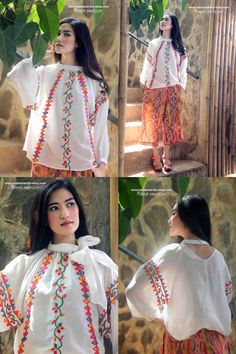 Batik Amarillis  Made in Indonesia proudly presents:Batik Amarillis's Romancia bow-tie blouse It's gauzy romantic blouse with detachable bow tie which you can style the way you want it! Material: mexican  embroidery style on gauzy and sheer cotton.