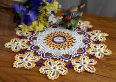 """Crocheted Doily - """"Belle Fleur"""", handmade, approx. 16 inch round doily, white with goldenrod edge flowers, textured, lace doily."""