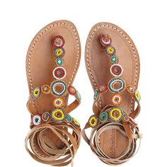 LAID BACK LONDON Conroy Artisan Beaded Leather Wrap Sandal ($105) ❤ liked on Polyvore featuring shoes, sandals, flats, multi cc, brown leather sandals, embellished sandals, ankle wrap sandals, leather flats and thong sandals