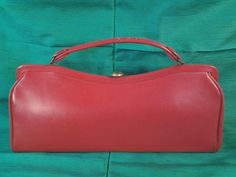 Red Leather Dover handbag 1950s by Thekellybag on Etsy, $18.00