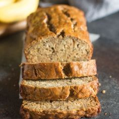 My favorite Skinny Banana Bread recipe has no oil, is low sugar, and just over 100 calories/slice! It's the BEST healthy banana bread recipe to still yield incredibly moist, perfectly sweet, and delicious bread! Healthy Banana Pudding, Banana Bread Recipes, Banana Bread Recipe No Brown Sugar, Banana Bread Healthy Yogurt, Banana Bread Healthy Clean Eating, Banana Bread Coconut Oil, Clean Banana Bread, Dairy Free Banana Bread, Protein Banana Bread
