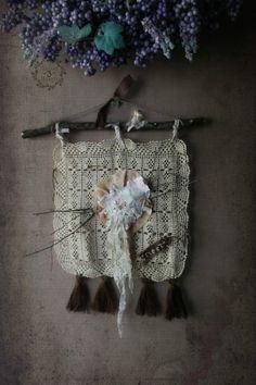 Woodland Folk Art Tapestry Banner. Rustic French Farmhouse