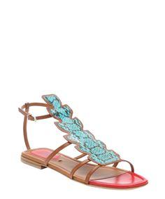 Fendi Turquoise Leather 'ava' Snake Embossed T-Strap Sandals