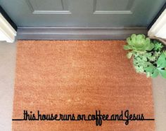 the coffee and Jesus doormat home decor cute by theCHEEKYdoormat