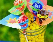 Superhero Lollipop Printable Party Favors - 8 DESIGNS -  INSTANT DOWNLOAD