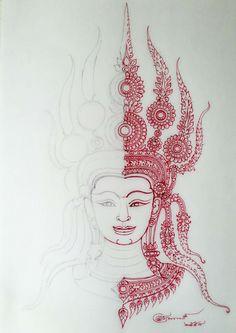 Mehndi, Henna, Art Sketches, Art Drawings, Khmer Tattoo, Buddha Painting, Tibetan Art, Thai Art, Hippie Art