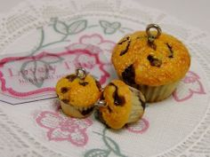 Kawaii Fashion Accessories Blueberry Muffins Charms, Pendant and earrings.