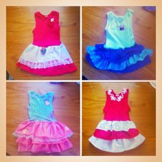 An easy cute design for a toddlers dress!!  Just use a singlet in the girls size I found using one size up makes for a better fit and gives u extra length to work with. Next use any strips of material or scraps in desired colour etc and sew onto singlet starting at the bottom up so u get the ruffle effect length will depend on child. Inbox me if any questions or need different angle pic