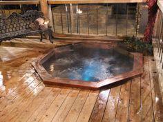 "Copper Octagonal Spa with Bench Seating and LED Lighting 96""x96""x35"" Blue Creek Lodge, Oshkosh NE"