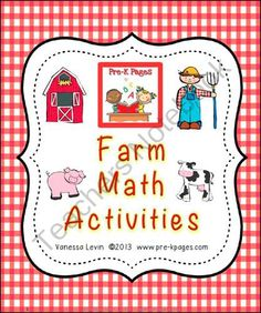 Farm Math Activities for Pre-K and Kindergarten from Pre K Pages on TeachersNotebook.com (42 pages)  - Farm Math Activities for Preschool and Kindergarten