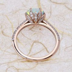 #RoseGold #EngagementRings #Opal Engagement Ring Lotus Flower