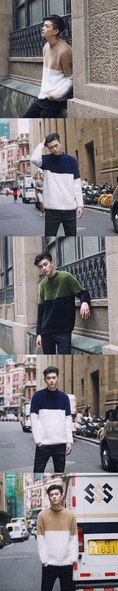 Autumn Winter Men Pullover Sweater Splice Colors Fashion Casual Loose Male Women Thick Sweater Knitwear