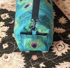 Women's Large Yoga Bag by BearStitches Yoga Bag Pattern, Yoga Mat Bag, Workout Accessories, Blue Bags, Plexus Products, Cosmetic Bag, Pilates, Purses And Bags, Peacock