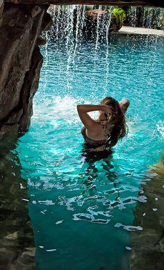 John Guild - Photography | Water Caves- Grotto Custom Pool Caves Grotto Pool, Lagoon Pool, Gunite Pool, Custom Pools, Pool Water, Beautiful Buildings, Nature, Aqua, Tropical