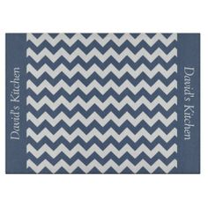 Denim Blue Chevron Decorative Glass Cutting Board .........This design features a denim blue chevron pattern. The TEXT on both sides (left and right) can be customized with your own name. Check out my store for more colors.