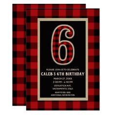 Rustic Red Black Buffalo Plaid 6th Birthday Party Card - kids kid child gift idea diy personalize design