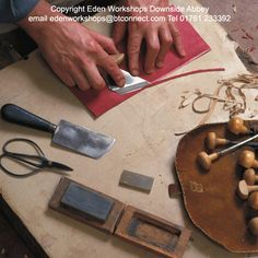 Paring leather requires a good leather knife, a razor sharp blade, a firm hand and a lot of practice.