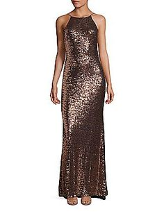 Badgley Mischka Sequin Cowlback Halter Gown