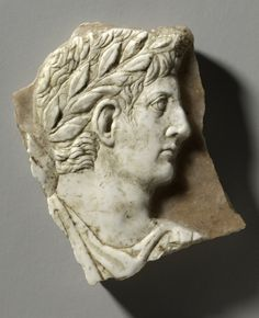 Travertine cameo with portrait of the Emperor Augustus (30 B.C. - 14 A.D.)…