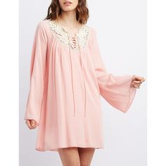Charlotte Russe Crochet Yoke Shift Dress ($30) ❤ liked on Polyvore featuring dresses, blush, pink dress, crochet dress, floral print dress, bell sleeve dress and floral dress