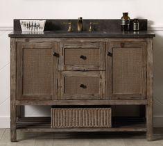 """Legion Furniture 48"""" Solid Wood Sink Vanity With Moon Stone Top Rustic Bathroom Vanities, Wood Bathroom, Bathroom Ideas, Bathroom Sinks, Bath Ideas, Bathroom Inspiration, Master Bathroom, Furniture Vanity, Wood Vanity"""