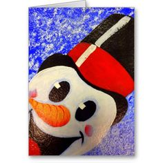 Snowman Frosty Greeting Card. How can you not smile with this greeting you?? Awesome Christmas card!!