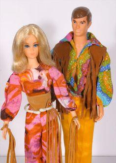 Vintage 1971 Mod Live Action Barbie & Ken Dolls W/ Original Outfits - VGC