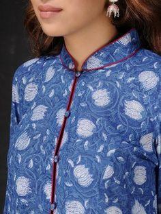 Indigo-White Natural-dyed Dabu-printed Mandarin Collar Cotton Kurta by Jaypore