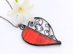 Love necklace stained glass jewelry red heart pendant glass heart Celtic glass pendant filigree jewellery romantic proposal special gift her