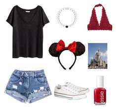 """Disney outfit #1"" by gracieneilan on Polyvore featuring H&M, Essie, Free People, Disney, Converse, women's clothing, women, female, woman and misses"