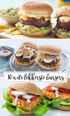 10 x de lekkerste burgers - Leuke recepten Dairy Free Recipes, Great Recipes, Favorite Recipes, Homemade Burgers, Good Food, Yummy Food, Gourmet Burgers, Healthy Dishes, High Tea