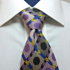 Mondo Uomo 100% Silk Tie Made in Italy Mens Necktie Geometric Purple Black Blue #MondoUomo #NeckTie