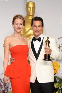Jennifer Lawrence posed with McConaughey and his statue. Source: Getty / Jason Merritt