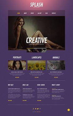 Creative Portfolio – Photographer Portfolio Responsive WordPress Theme  This brightly colored theme with a purple gradient uses original images, styled as oil paintings. It's the right fit for a photographer's or artist's portfolio.