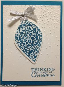 "Christmas card created with Stampin' Up! ""embellished Ornaments"" stamp set; Delicate Ornament Thinlits; and Softly Falling embossing folder."