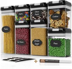 Chef's Path Airtight Food Storage Container Set - 7 PC Set - Labels & Marker - Kitchen & Pantry Organization Containers - BPA-Free - Clear Plastic Canisters with Improved Durable Lids (Black) - Cruce Shopping Large Food Storage Containers, Cereal Containers, Dry Food Storage, Container Organization, Pantry Organization, Storage Ideas, Plastic Canisters, Storage Canisters, Glass Canisters