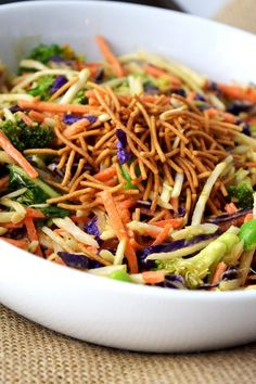 Asian Broccoli Slaw Salad with Ginger Peanut Dressing.